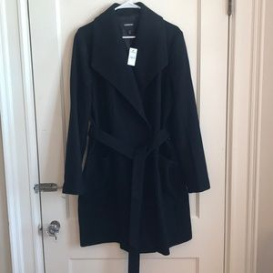 Long belted Wool-blend wrap coat